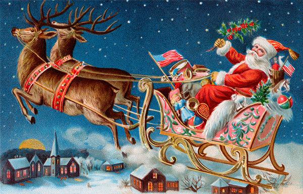Retro Santa in sleigh