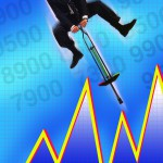 Businessman Bouncing Over Stock Chart
