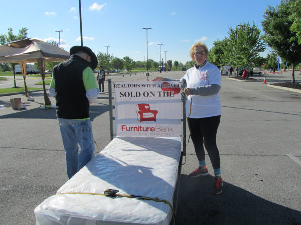 Sue preparing for the 2017 Bed Race! REALTORS with a Heart. We care about communities in Columbus!