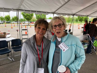 Sue Lusk-Gleich & Mary Allen at the Bed Race to Support the Furniture Bank of Central Ohio